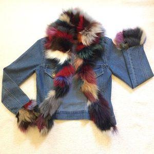 Vintage Sheri Bodell Fox Fur Trimmed Denim Jacket